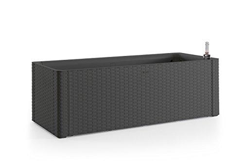 Kreher XL Pflanzkasten rechteckig im Rattan-Design aus Kunststoff in Anthrazit. Mit Wasserspeicher und Wasserstandsanzeige, Mae...