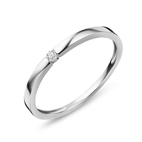 Orovi Damen Diamant Ring Weigold, Verlobungsring 9 Karat (375) Gold und Diamant Brillanten 0.03 Ct, Solitrring