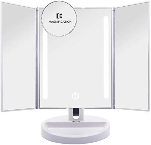Auxmir Kosmetikspiegel mit LED Licht, Schminkspiegel Beleuchtet mit Blendfreier Bleuchtung fr Schminken Rasieren, Makeup Spiegel...