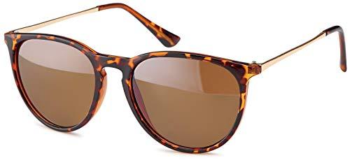 styleBREAKER Sonnenbrille mit groen ovalen Glsern und Metall Bgel, Damen 09020085, Farbe:Gestell Braun Demi/Glas Braun