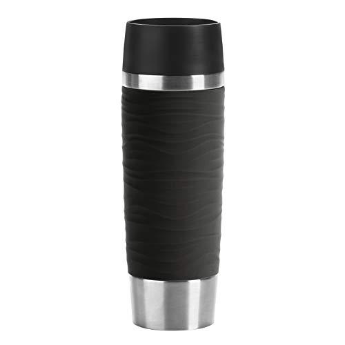 Emsa N2011900 Travel Mug Wave-Design Thermobecher/Isolierbecher (500 ml, hlt 6h hei/ 12h kalt, 100% dicht, auslaufsicher, Easy...