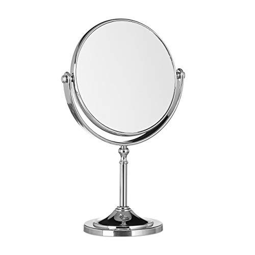Relaxdays Kosmetikspiegel Vergrerung, Schminkspiegel stehend, Make Up Spiegel rund, zweiseitig HBT: 28x18x10cm, silber