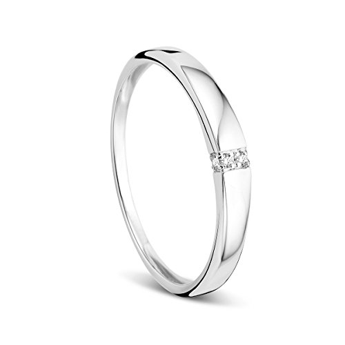 Orovi Damen-Ring Memoire HochzeitsringWeigold 9 Karat (375) Diamant 0.02 carat Verlobungsring Diamantring