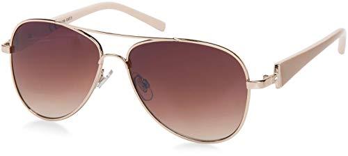 styleBREAKER elegante Damen Pilotenbrille getnt, Sonnenbrille mit lackierten Bgeln und Strassstein 09020053, Farbe:Gestell...