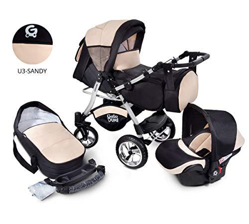 Urbano Kombikinderwagen Kinderwagen Babyschale 3in1 System Autositz (U3-Sandy)