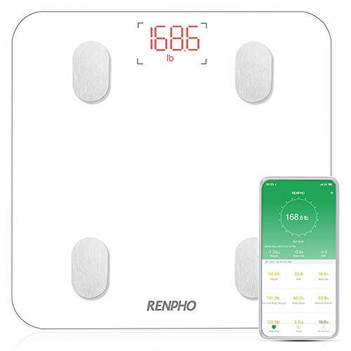 RENPHO Krperfettwaage, Bluetooth Personenwaage mit App, Smart Digitale Waage fr Krperfett, BMI, Gewicht, Muskelmasse, Wasser,...