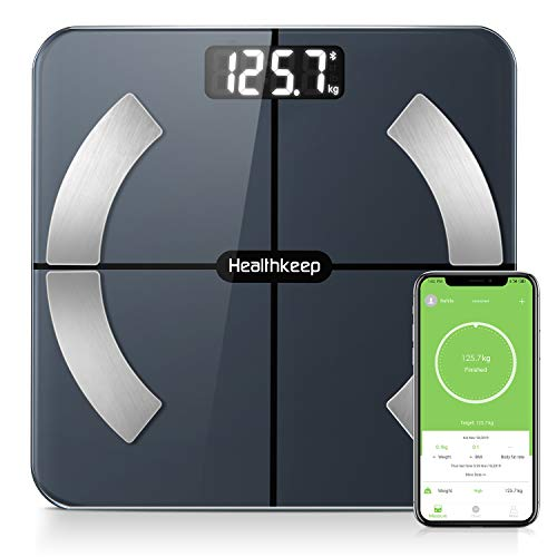 Krperfettwaage, Bluetooth Personenwaage mit App, Smart Digitale Waage fr Krperfett, BMI, Gewicht, Muskelmasse, Wasser, Protein,...