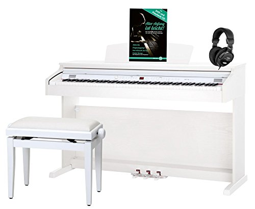 Classic Cantabile DP-50 WM E-Piano SET (Digitalpiano mit Hammermechanik, 88 Tasten, 2 Anschlsse fr Kopfhrer, USB, LED, 3 Pedale,...