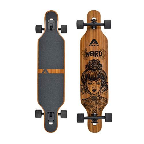 Apollo Longboard, Komplettboard mit Deck aus Bambus & Fiberglas, High-End Board mit ABEC 9 Kugellager, Flex 2 Longboards fr...