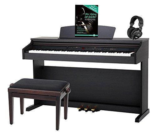 Classic Cantabile DP-50 RH E-Piano SET (Digitalpiano mit Hammermechanik, 88 Tasten, 2 Anschlsse fr Kopfhrer, USB, LED, 3 Pedale,...