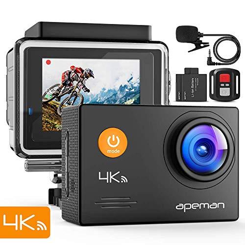 APEMAN Action Cam A79, 4K WiFi 16MP Unterwasserkamera Digitale wasserdichte 40M Helmkamera (2.4G Fernbedienung und externes...