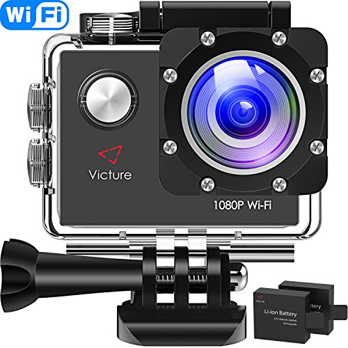 Victure AC400 Action Cam 1080P Full HD WiFi Unterwasserkamera wasserdichte 30M Sports Helmkamera mit kostenlosen Montage Zubehr...