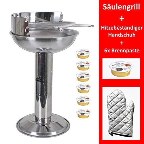 Grill-Holzkohle Sulengrill Edelstahl Standgrill gro B/H/T 32 x 74 x 53cm Grillflche mit Aschebehlter inkl. Grillzange,...