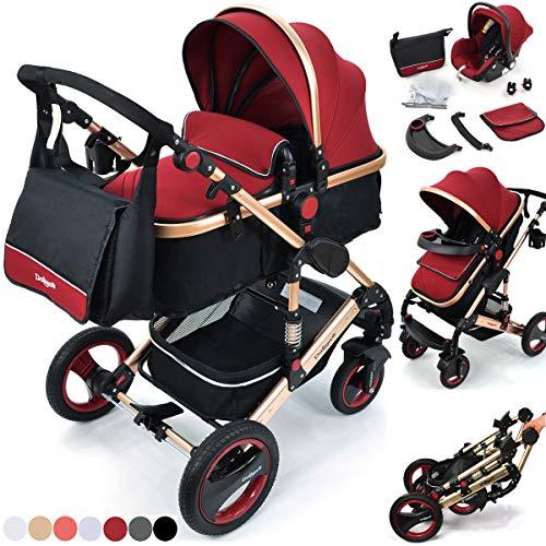 Daliya Bambimo 3 in 1 Kinderwagen - Kombikinderwagen Riesenset 14-Teilig incl. Babywanne & Buggy & Auto-Babyschale -...