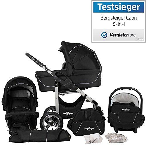 Bergsteiger Capri Kinderwagen 3 in 1 Kombikinderwagen Megaset 10 teilig inkl. Babyschale, Babywanne, Sportwagen und Zubehr