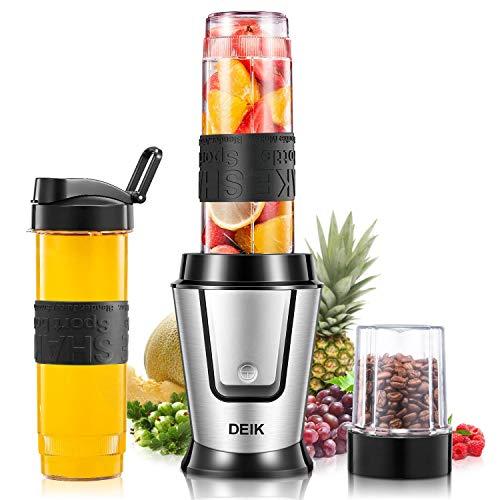 DEIK Mini Mixer, Smoothie Maker 2 in 1 Multifunktion Standmixer+ Ice Crusher + Kaffeemhle (500 Watt, 24000U/Min) Elektrisch Shake...