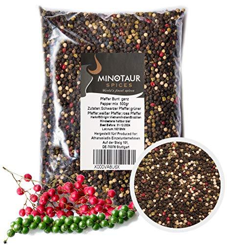 Minotaur Spices | Pfeffer bunt ganz | 2 X 500g (1 Kg) | Bunter Pfeffer aus schwarzen, weien, grnen und Rosa Krner