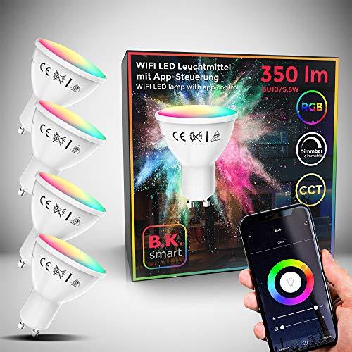 B.K.Licht I 4er Set LED GU10 Wi-Fi Lampe I 5,5 Watt I 350 Lumen I RGB I CCT I Dimmbar I App- Sprachsteuerung Alexa Google Home I...