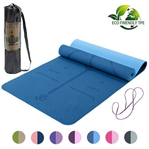 Lixada Yogamatte rutschfeste TPE Gymnastikmatte fr Fitness Pilates mit Positionslinie mit Tragegurt und Tasche 183 * 61 * 0,6 cm